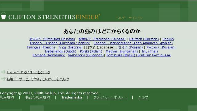 日本語版ストレングスファインダーのページはこんな感じ